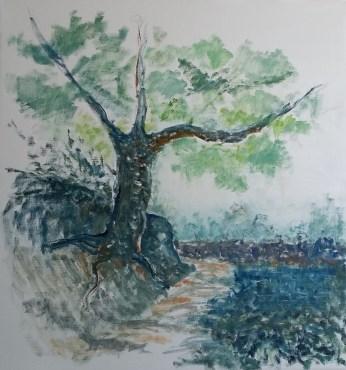 Det hældende træ Olie på lærred 75x80 cm 5000 kr.