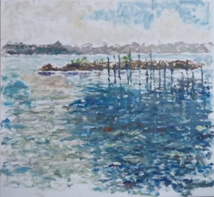 Skive Havn Olie på lærred 65x60 cm 4000 kr.