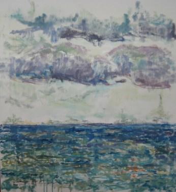 Skyer over fjorden Olie på lærred 60x65 cm