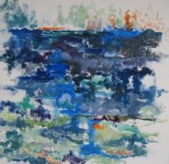 Fjorden Olie på lærred 80x75 cm