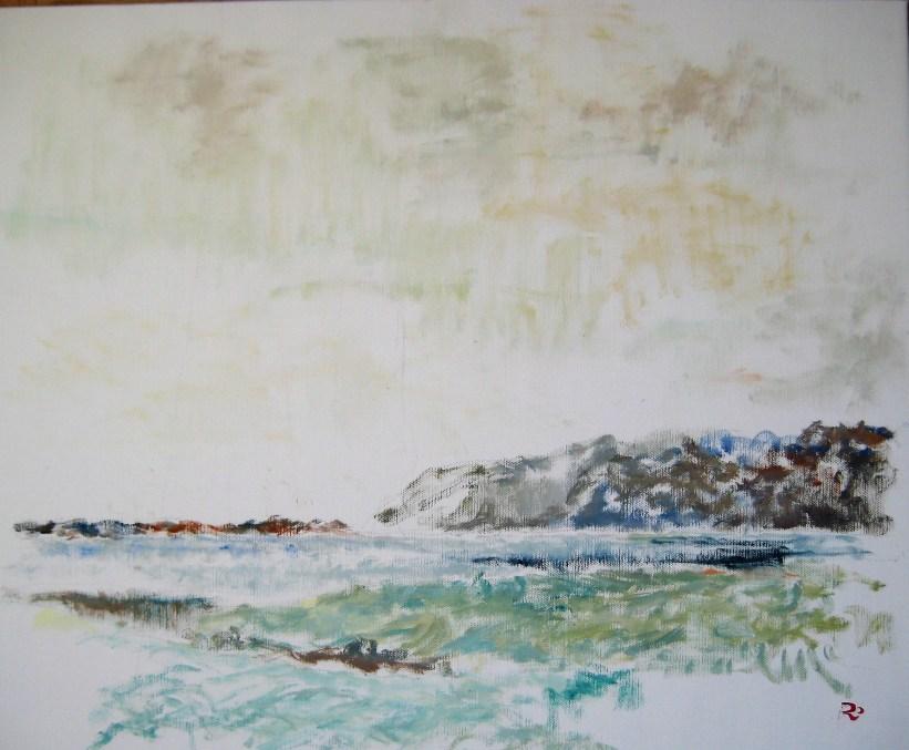Langs fjorden Olie på lærred 65x55 cm