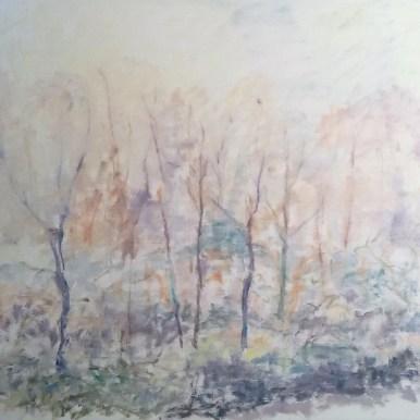 Vinterdag i skoven Olie på lærred 75x70 cm