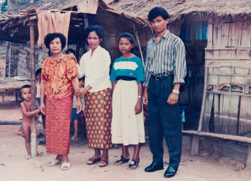 One of only a few surviving photos of the Chhom family. Thai refugee camp, circa 1989.