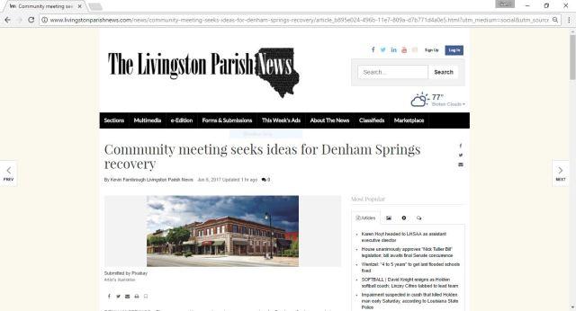 LP News Article - Community Meeting Seeks Ideas for Denham Springs Recovery