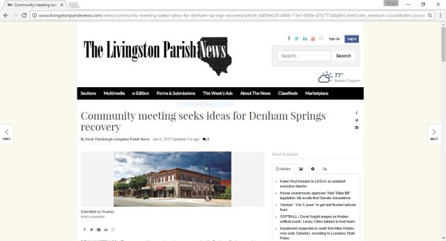 LP News Article - Community Meeting Seeks Ideas for Denham Springs Recovery
