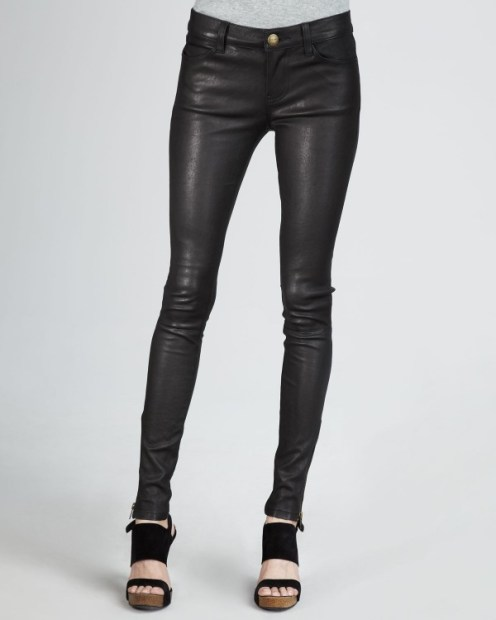 Current Elliott Zip Leather Skinny Black 1