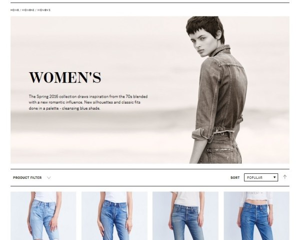 Citizens of Humanity Re-Launch Website Women