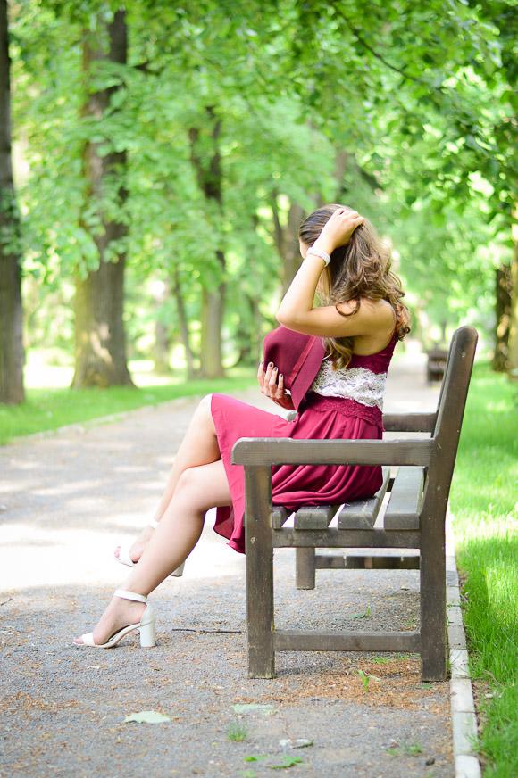 Bulgarian Fashion Blogger Denina Martin at Vrana, Sofia wearing a little marsala dress
