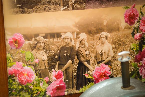 Old Photo of Women Wearing Roses in Kazanlak
