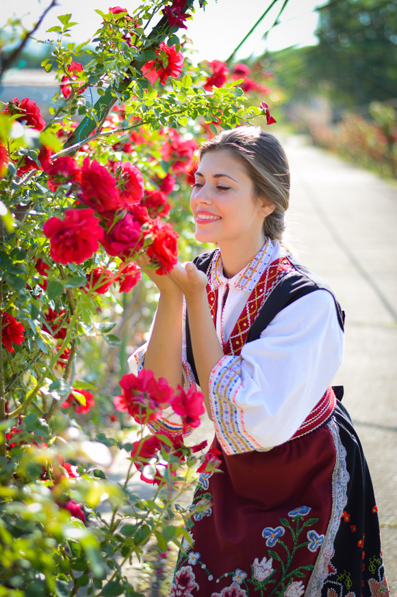 Bulgarian Native Attire during the Rose Festival in Kazanlak worn by Denina Martin