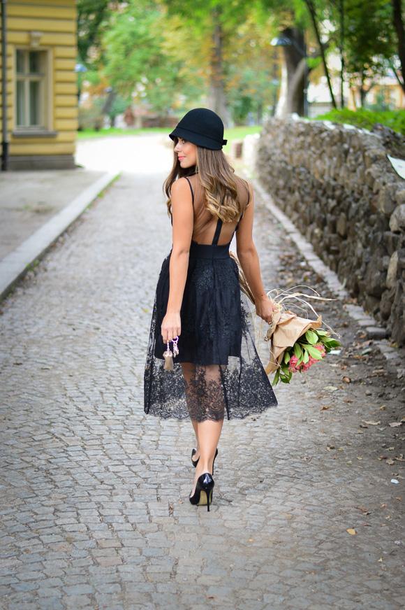 Bulgarian Fashion Blogger Denina Martin dressed in black lace dress from Liu Jo in Bulgaria Mall