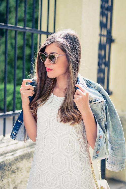 Denina Martin Wearing Desigual White Crochet Dress Guess Denim Jacket