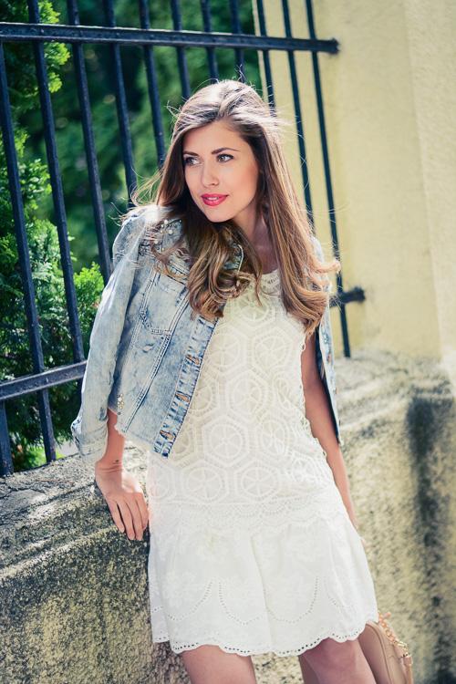 Desigual White Crochet Dress Guess Denim Jacket