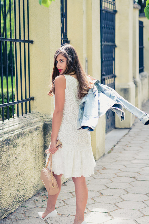 Denina Martin Wearing Desigual White Crochet Dress