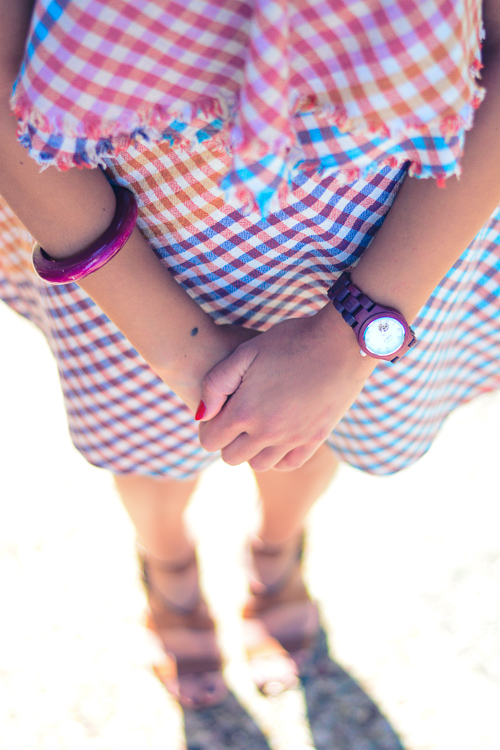 Denina Martin Wearing Gingham Dress and Jord Woodwatch
