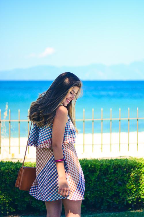 Denina Martin Wearing Gingham Dress Summer Fashion Outfit