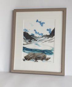 Lac des Béraudes, aquarelle 23x30.5