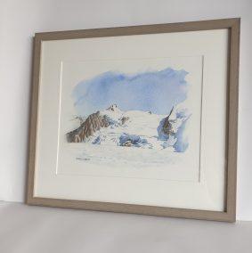 Le Mont Maudit depuis le com du Dôme, aquarelle 26x32