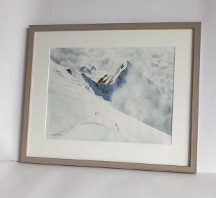 Aiguille de Bionassay depuis le passage du Dôme, aquarelle 31x41