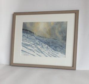 Fin d'orage sur le glacier du Tour. Aquarelle 26x33,5