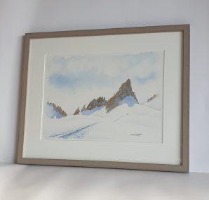Fin mars sur le glacier de Trient, aquarelle 27x37
