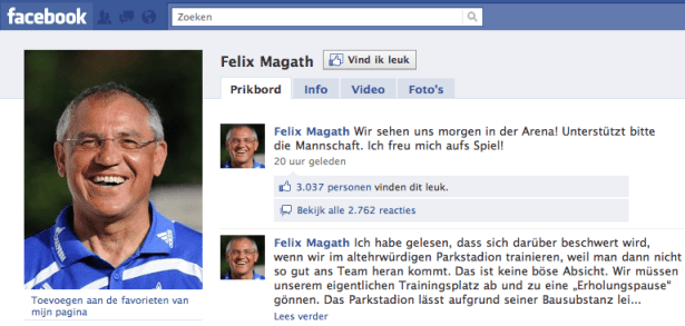 Felix Magath op Facebook