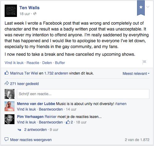 ten walls aan de beurt op social media