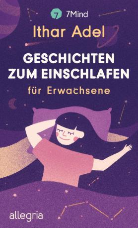 In verschiedenen Violetttönen gehaltene Grafik mit Verlag, Buchtitel, schlafender Person.
