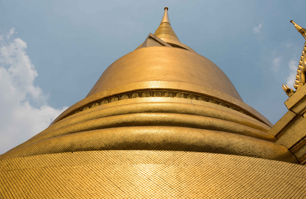 "One of the domes at the Royal Palace in Bangkok; supposedly the surface is of pure (leaf) gold. ""Not take away, stay here!"""