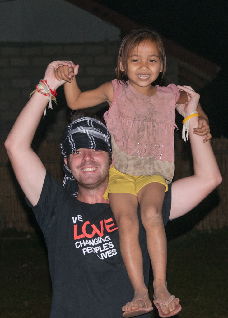 Our tour leader Shane saw a girl that was too shy to dance and put her on his shoulder.