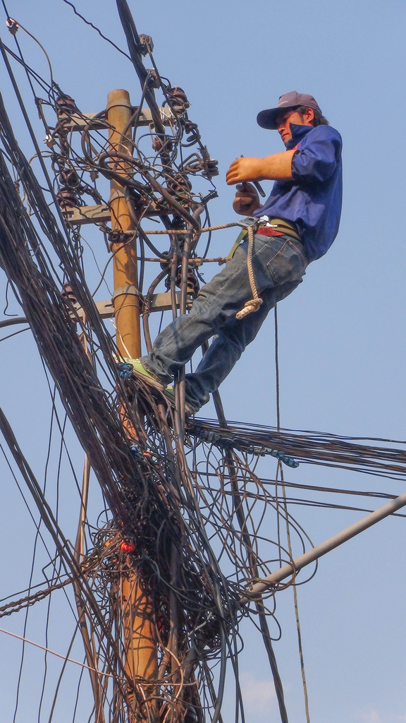 This is what the wiring looks like all over Indochina. Amazingly, it all seems to work pretty well.