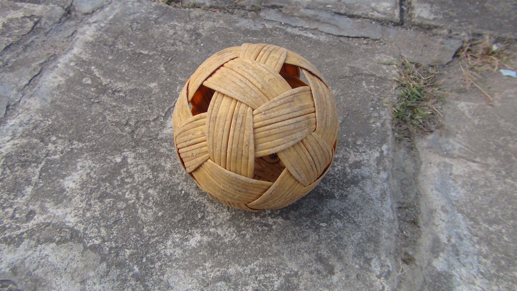 A bamboo ball. What a clever design! And now you know where the familiar black-and-white pattern of soccer and volleyballs comes from.