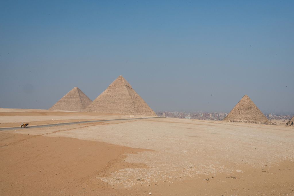 The three largest pyramids. There are a total of nine at Giza.
