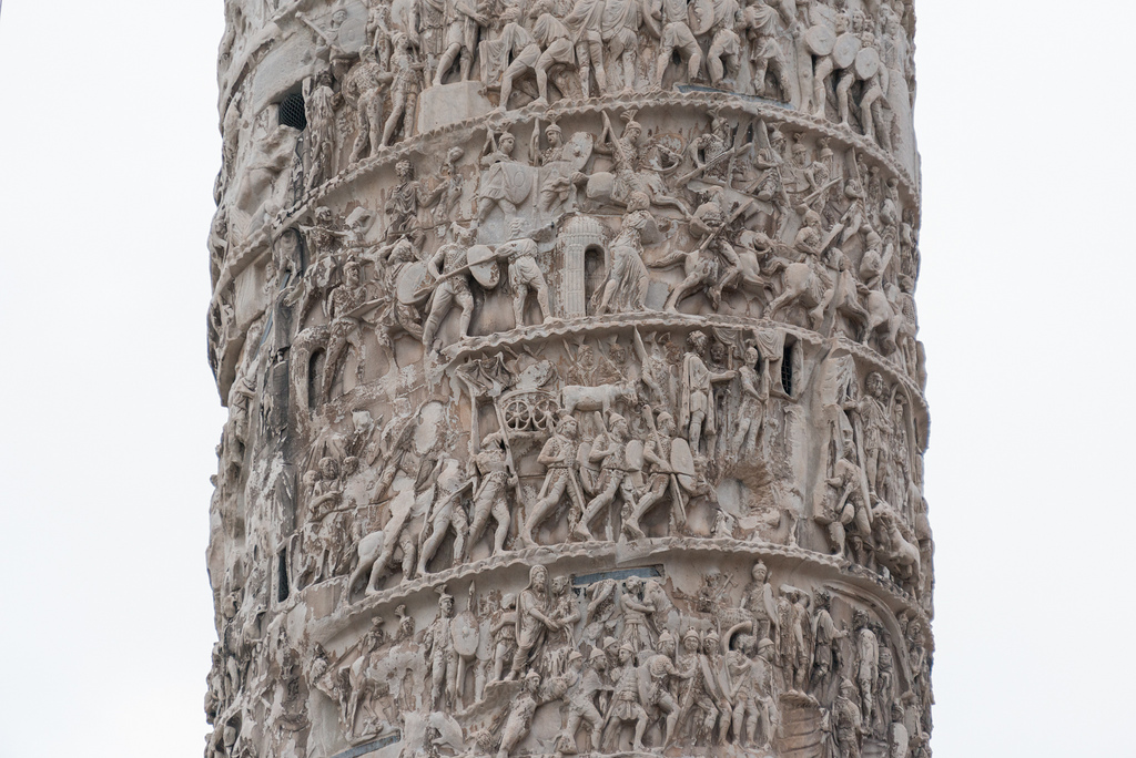 Bas Relief art in the Column of Marcus Aurelius, a hollow bronze column rising 25m (83 ft.) above Piazza Colonna.