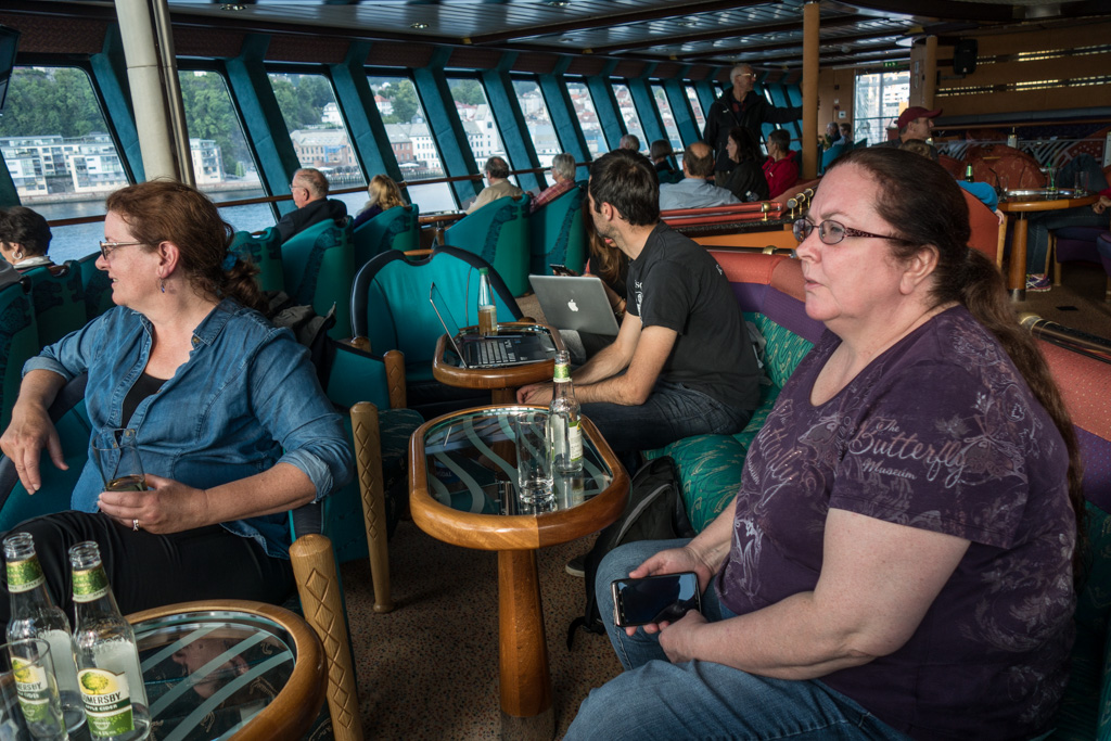 In the Panorama lounge of Hurtigruten as we set off on our journey north.