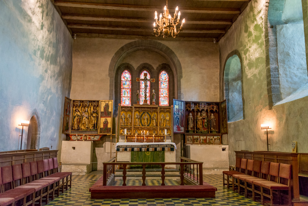 Some of the original Catholic furnishings were retained when the church was converted to Protestantism.