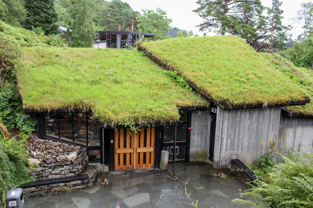 The Edvard Grieg concert hall. Green roofs are very popular in Norway.