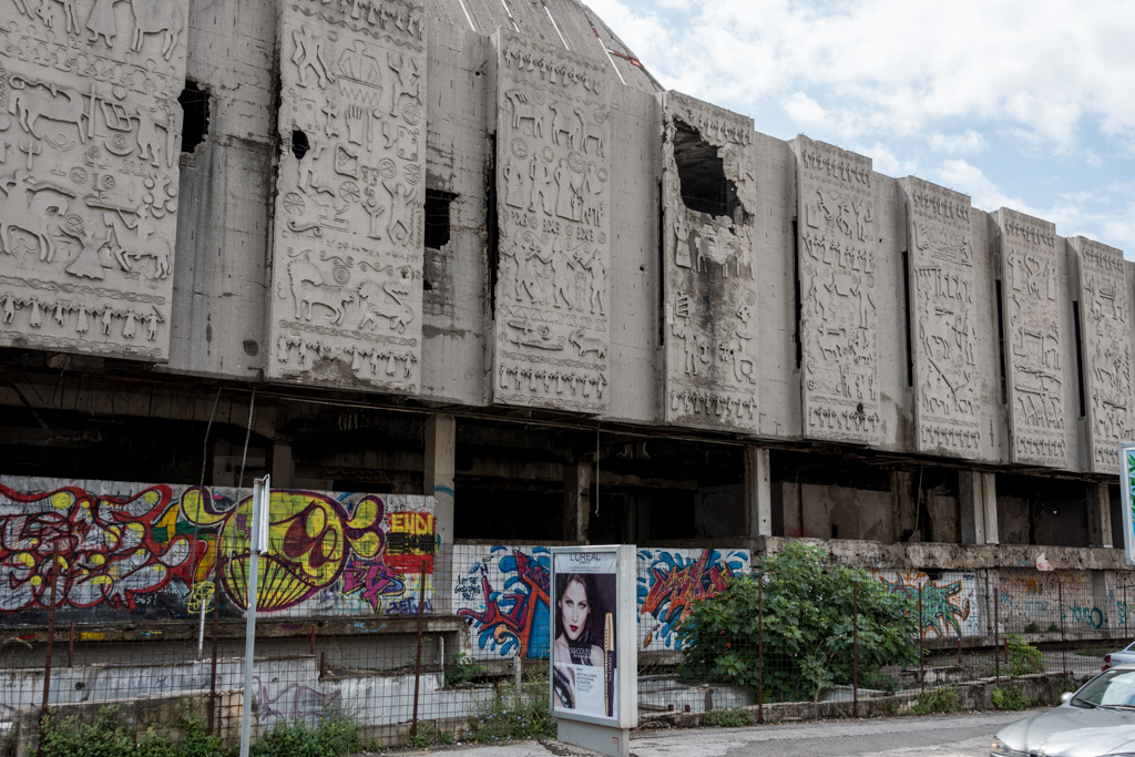 """A lot of the war damage in the """"modern"""" part of Mostar hasn't been repaired."""