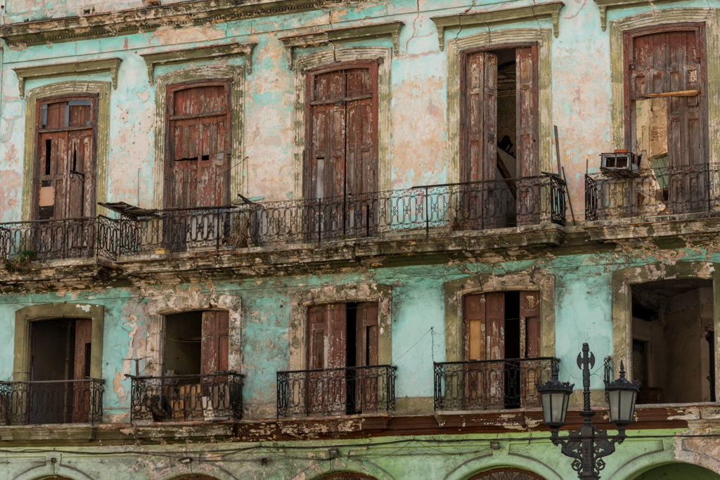 Decayed house front in Havana.