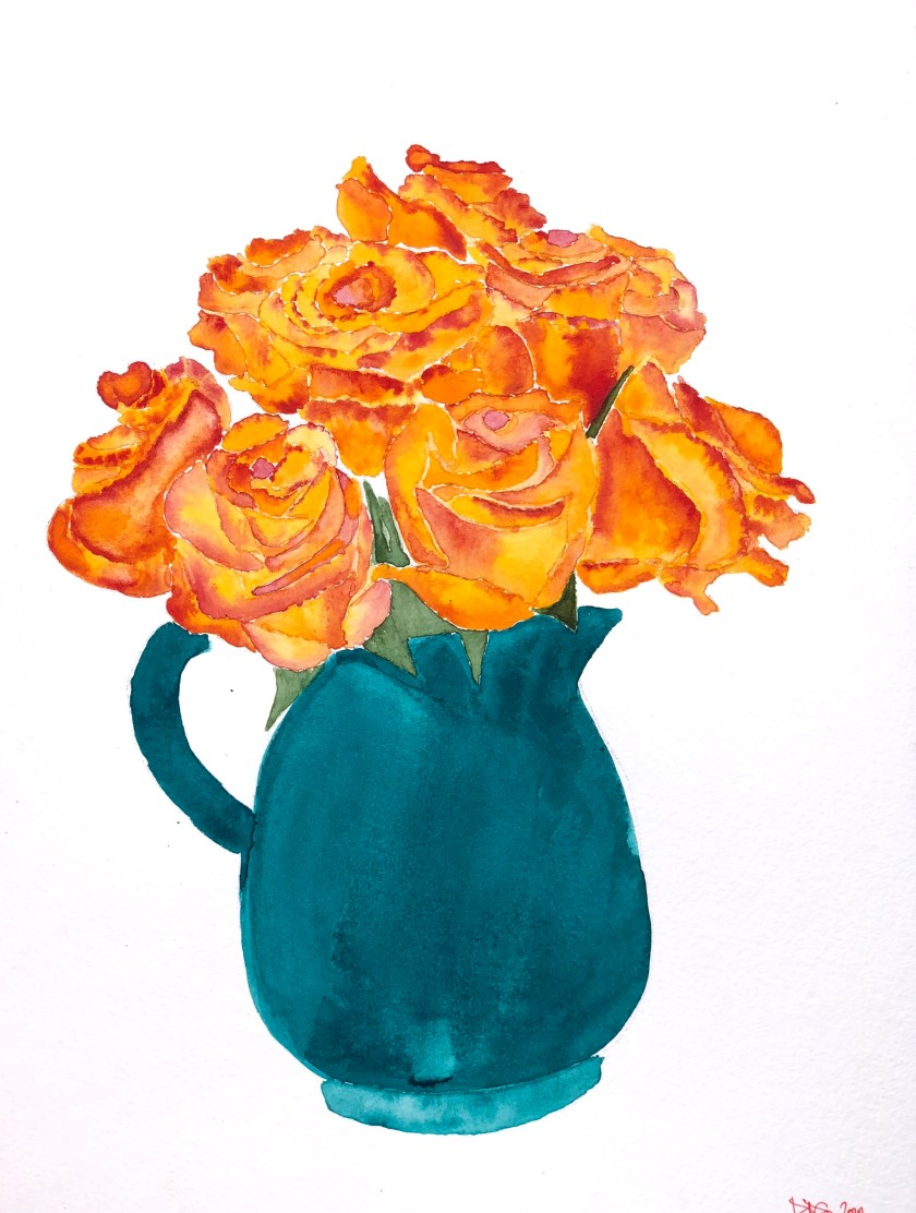 Watercolor Painting of Sunset Roses, by Denise Genova