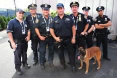 NYPD transit bureau K-9 police officers and K-9 dog providing se