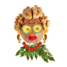 Funny Woman Portrait Made Of Vegetables And Fruits