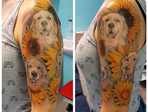 Tatuaggio girasole e cane