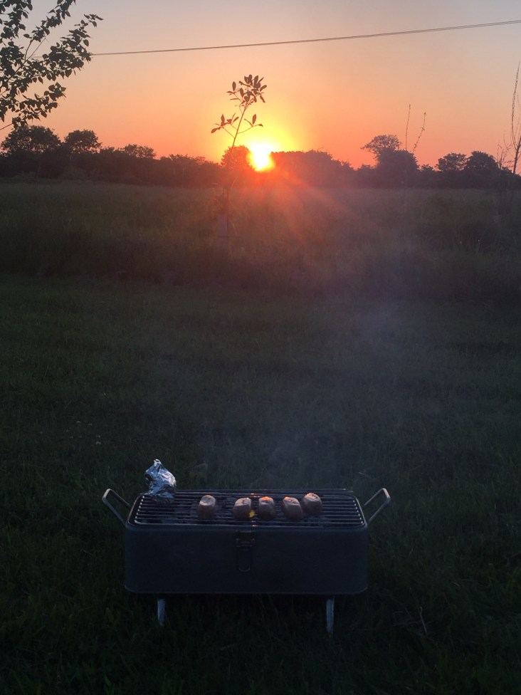 Barbecue at the Lodge Farm Meadow campsite, Hilgay, Norfolk