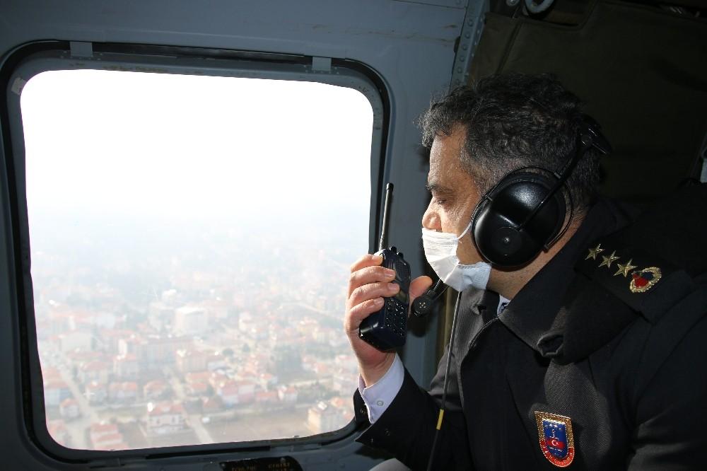 Kural ihlalleri helikopter ile tespit edildi
