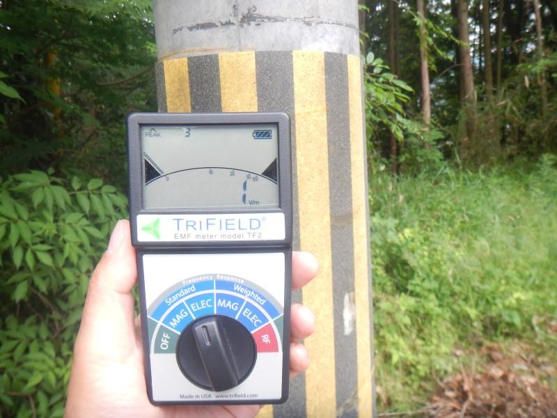 電柱側の電場測定