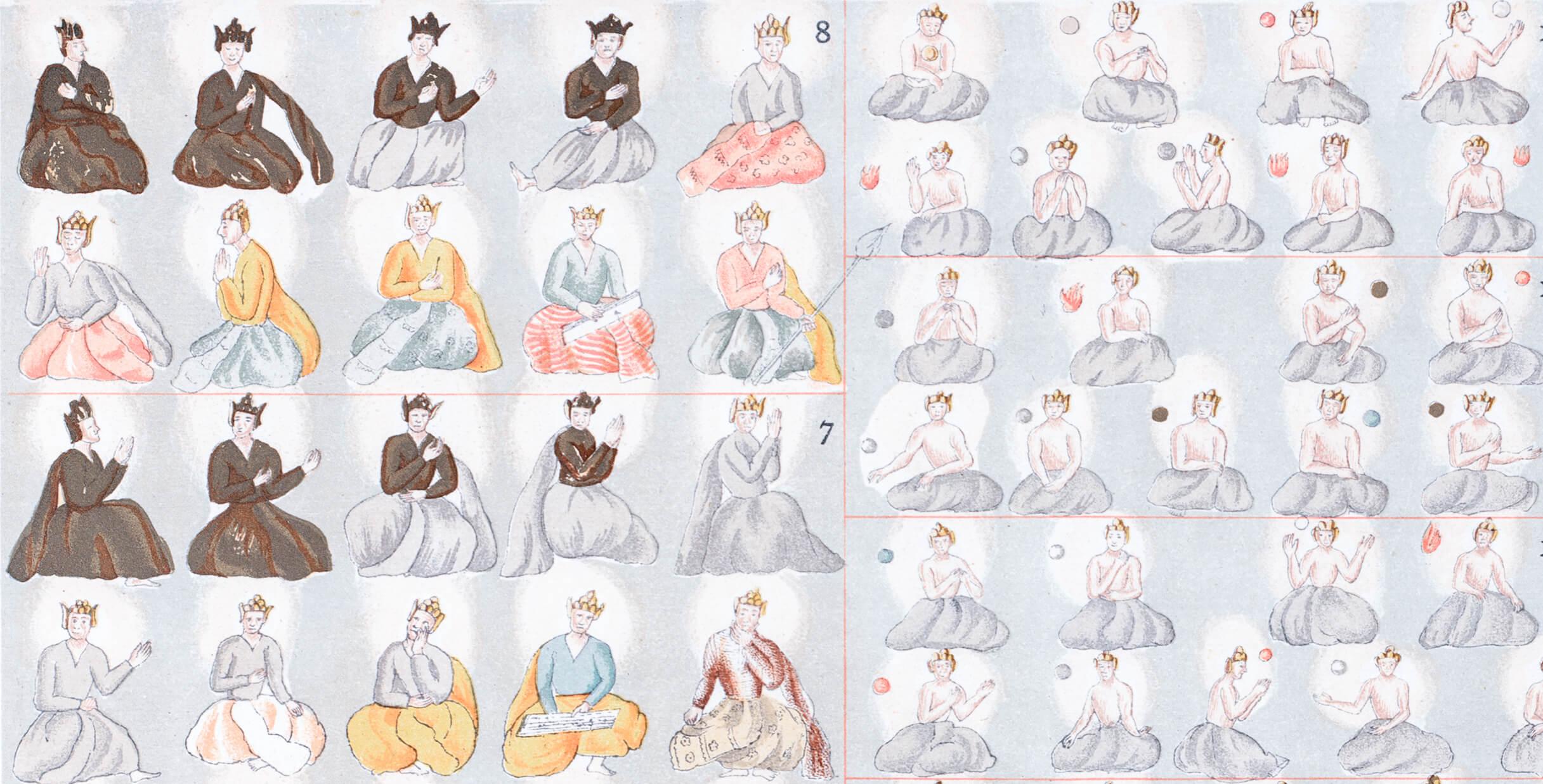 Bild: Illustration von meditierenden Mönchen