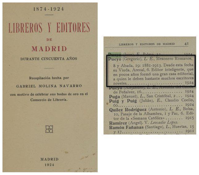 """Fragmento del libro """"Libreros y editores de Mdrid durante 50 años"""" (Madrid. 1924) donde aparece Pueyo"""