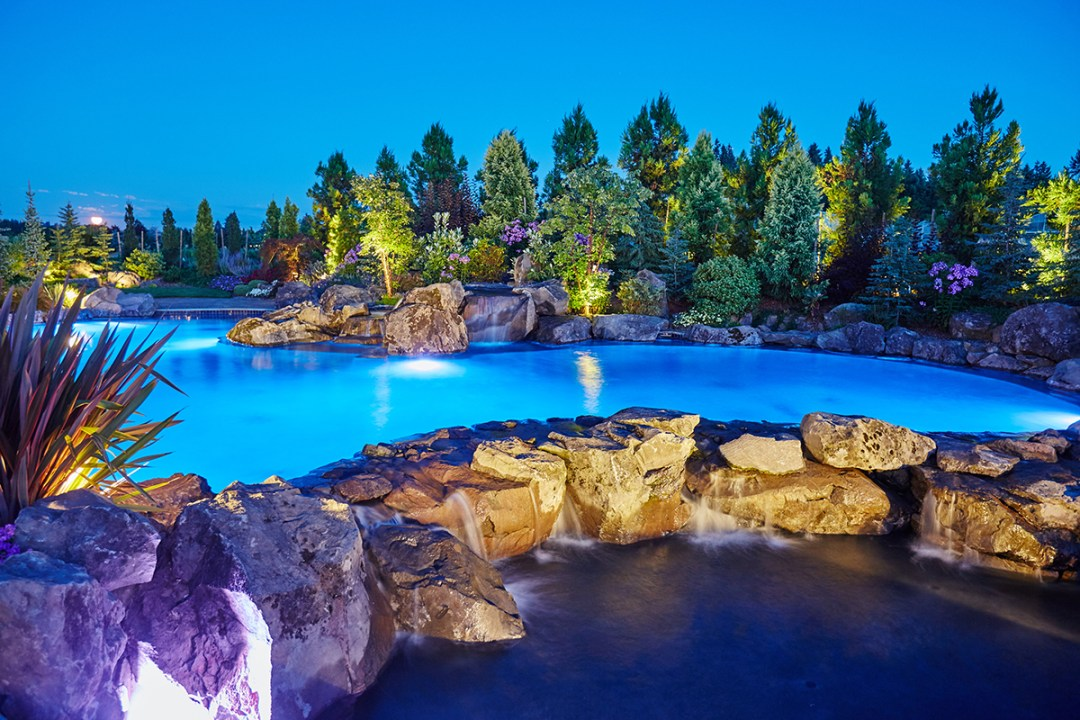 pool in landscape at night
