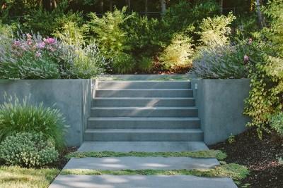 residential landscape concrete steps